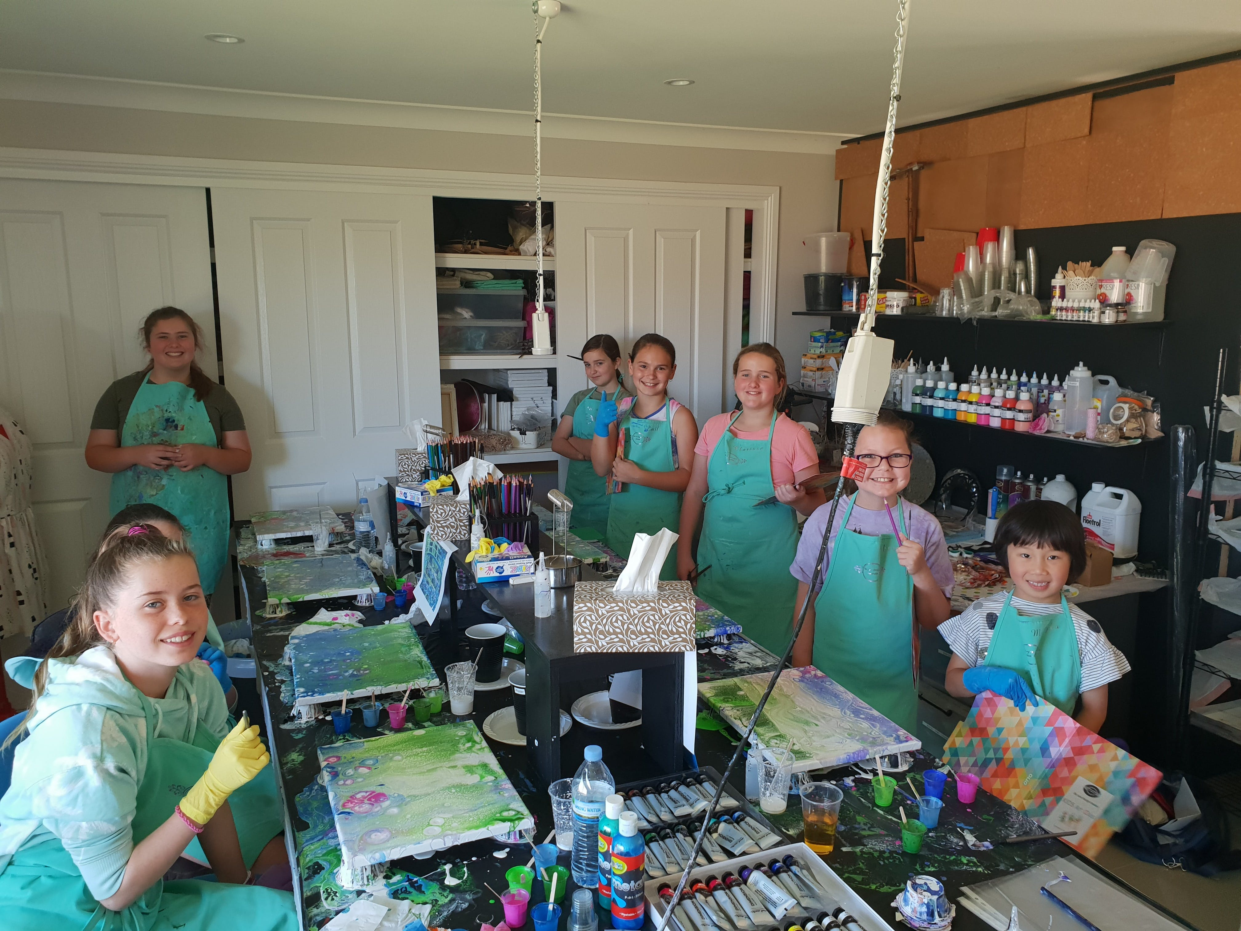 School holidays - Kids art class - Painting - Accommodation Tasmania